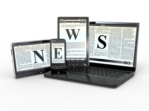 Image of various electronic devices, each displaying a letter of the word NEWS surrounded by columns of small print